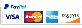 PayPal logo indicating payment options of MasterCard, Visa, American Express and Discover