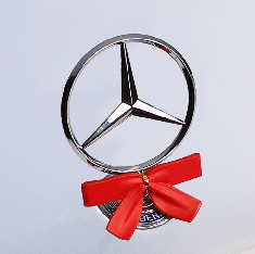 Holiday Red StarWreath Bow on Mercedes hood