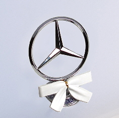 Holiday White StarWreath Bow on Mercedes hood
