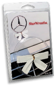 Holiday White StarWreath bow for Mercedes in packaging